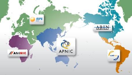 Regional Internet Registries Map